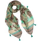 Paisley Flower Pattern with Diagonal Stripes Border Tassels Square Scarf - Green
