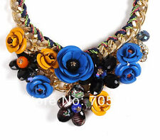 Multicolor Metal Flower Rhinestones Crystal Bib Necklace