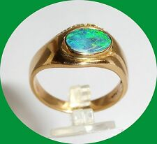 Unique Men's 14k Yellow Gold Manmade Green Fire Opal and Diamond Ring - Size 10