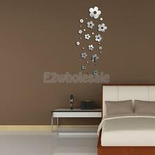 Mirror Removable Flowers Decal Art Mural Wall Sticker Home DIY Decor Silver