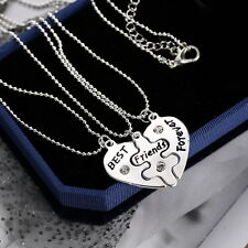 3P BFF Best Friends Forever 3 Part Love Break Heart Necklace Friendship Jewelry