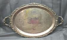 """Wallace Baroque Silver Plate 29"""" x 18"""" Footed Waiters 294F Tray Handles USA made"""