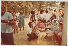 Vintage 70s PHOTO African American Men Women At Outdoor Event Some Holding Hands