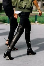 $2350 size 38 CHANEL Runway Black Leather Thigh High CC Logo Over Knee Boots