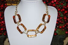 LARGE BOLD FAUX ACRYLIC TURTLE SHELL LINKS RHINESTONE GOLD TONED METAL NECKLACE