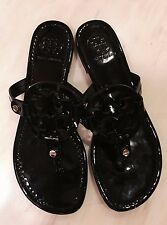 Tory Burch Miller Sandals NEW wo box Womens 8 M Black Patent Leather Floor Model