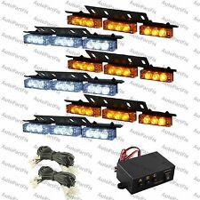 54 LED WHITE AMBER Yellow Emergency Warning Strobe Lights Bars Deck Dash Grill