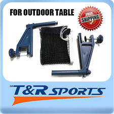 NEW OUTDOOR TABLE TENNIS PING PONG CLAMP NET & POST SET BLUE