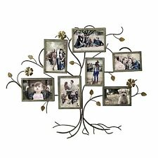 Adeco 7-Opening Decorative Bronze-Color Iron Tree Collage Picture Photo Frames