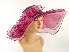 Church Kentucky Derby Wedding Sinamay Wide Brim Dress Hat 2974 Purple & Hot Pink