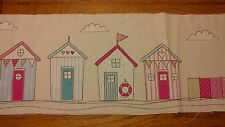 4 Pink Blue Beach Houses With Windbreak 37cm x 15cm Material For Patchwork 1