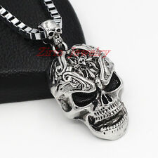 Mens Silver Stainless Steel Cross Skull Pendant Box Chain Biker Necklace Punk