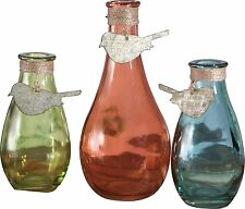 """Set of 3 Colorful Glass Vases with Bird Cutouts, 7.5"""", 5.5"""", 5.5""""  by Transpac"""