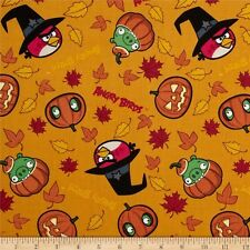 1 yd_David textiles_Halloween_angry birds_orange_black_cotton_quilt fabric_OOP