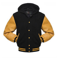 Varsity Wool Letterman Jacket Black with Yellow Real Leather Sleeves Hoodie