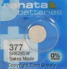 1 pc 377 Renata Watch Batteries SR626SW FREE SHIP 0% MERCURY