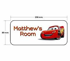Cars Lightning McQueen Personalised Childrens Bedroom Door Plaque Sign Girls