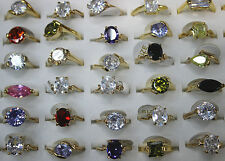 Wholesale Lot 30pcs Cubic Zircon Colorful Gold Plated Lady's Wonderful Top ring
