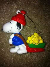 Vintage Snoopy Sled Ornament United Feature Syndicate Woodstock Christmas