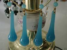 """5"""" LONG ROBIN'S EGG BLUE COLOR GLASS PRISM CHANDELIER DECORATIVE PENDANT 10 PCS"""