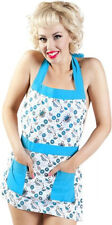 67033 Teal Blue & White Tea and Donuts Apron Sourpuss Teapots Retro Sweets Cute