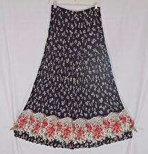 Coldwater Creek Long Broomstick Crinkle Pleat Skirt Black Red Rayon Floral MED