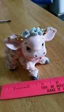 "Vintage Adorable Pink Baby Cow Japan Ceramic  3 1/4"" gc by original  recreation"
