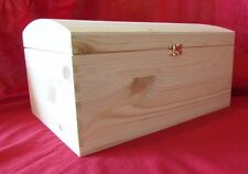 *NEW *   LARGE PIRATE TREASURE CHEST NATURAL PINE WOODEN BOX  / ART CRAFTS....