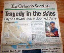BEST 1999 headline newspaper Golf Champion PAYNE STEWART DIES in Airplane Crash