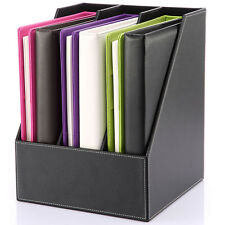 Wooden Leather Desk Files Holder Box Document Organizers Rack 3-slot Cabinet New