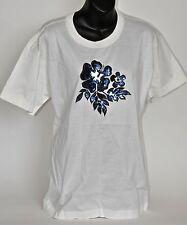 Vtg 90s NW0T ESCADA white Novelty T SHIRT with Blue Sequin Flower Design sz 38