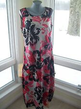 NEW $369 Windsmoor Bold Black/Red Floral Shift Dress Sleeveless Silky  EU40 US12