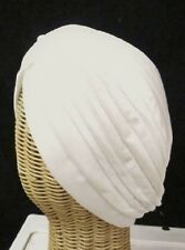 Chemo Turban White Polyester Knit Gathered Knotted Style Head Cover Hat New