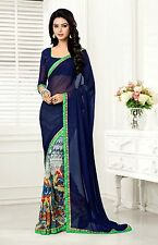Stylist Multi Color Printed Chiffon Saree with a Blouse D.No GS406