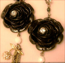 AUTH RARE BETSEY JOHNSON Blk Plastic ROSE DANGLE Chain EARRING Rhinestone Cherry