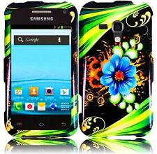 For Samsung Galaxy Rush M830 HARD Protector Case Snap On Phone Cover Aqua Flower
