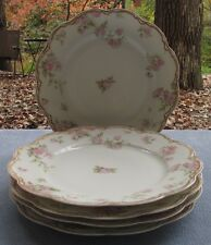 FIVE Haviland Limoges Schleiger 39A Dinner Plates Large Ornate Roses Double Gold