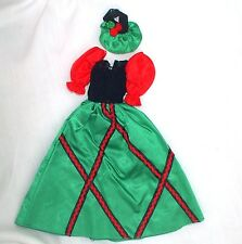 Genuine Barbie Red Green Black Gown Dress With Bonnet