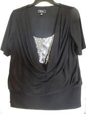 DRESSBARN BLACK DRAPE COWL NECK SHORT  SLEEVE  TUNIC TOP SHIRT  SZ  18/20