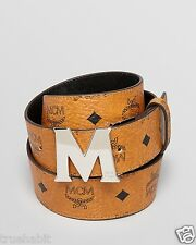 $432 MCM Visetos Men ROUND M Logo HEAVY DUTY ADJUSTABLE LEATHER BLACK BROWN Belt