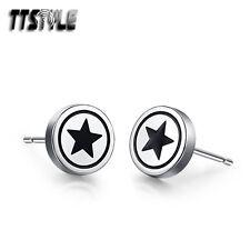 Mens TTstyle Stainless Steel Black Star Round Stud Earrings NEW Arrival