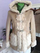 NEU * TOPSHOP Petite Shearling faux fur Coat Mantel Kapuze Fell EUR 36  NP 129€