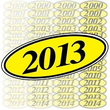 Car Dealer Windshield Oval Model Year Stickers, 4 Digit, Black and Yellow