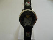 LOVELY NERO HELLO KITTY OROLOGIO + EXTRA pulsante cella BATTERIE (regalo)