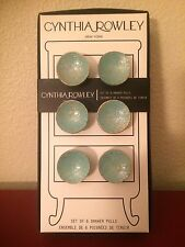 Cynthia Rowley Set Of 6 Drawer Knobs And Pulls Teal/Gold Accents/Gloss Finish