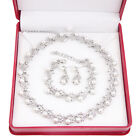 Fashion Women Bridal Pearl Crystal Necklace Earring Set Wedding Jewelry Sets