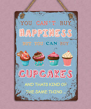 Shabby chic style metal hanging sign happiness is cupcakes wall door plaque gift