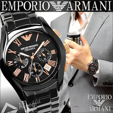 100% New Authentic Emporio Armani Mens Black Rose Gold Ceramic Watch AR1410