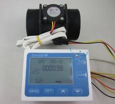 "G2"" 2inch Flow Water Sensor Meter+LCD Display Quantitative Control 10-200L/min"