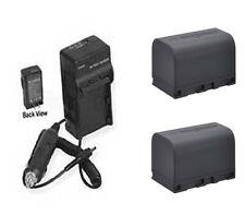 TWO 2 Batteries + Charger for JVC GR-D850EK GR-D850EX GR-D850E GR-D870 GR-D870E